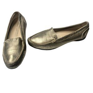 AGL | Leather Gold Metallic Loafers Moccasins